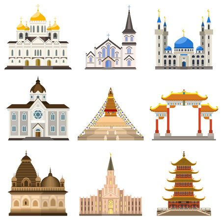 Temple icons set. Flat set of temple icons for web design