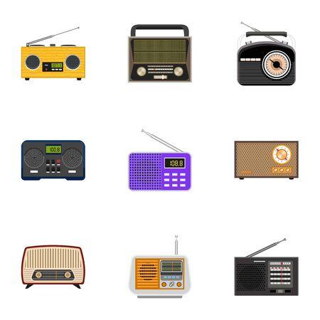Radio icon set. Flat set of 9 radio icons for web design isolated on white background Фото со стока