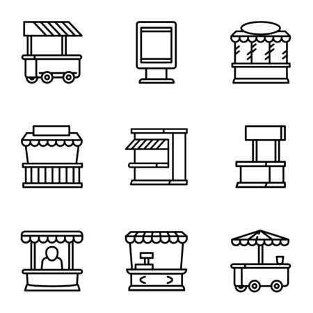 Street market icon set. Outline set of 9 street market icons for web design isolated on white background