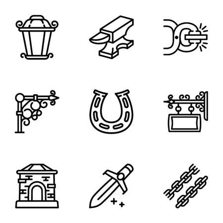 Blacksmith icon set. Outline set of 9 blacksmith icons for web design isolated on white background