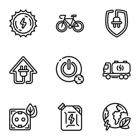 Energy icon set. Outline set of 9 energy icons for web design isolated on white background