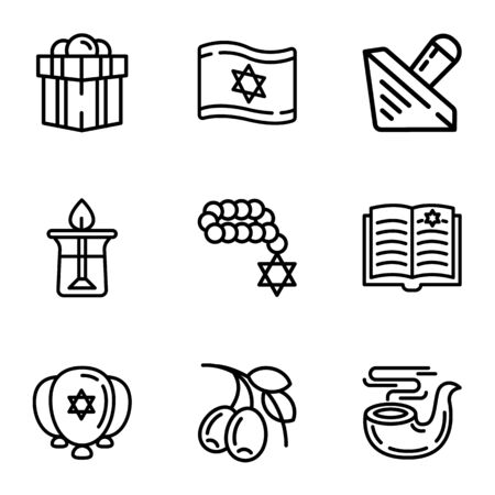 Israel icon set. Outline set of 9 israel icons for web design isolated on white background