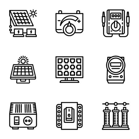 Solar panel icon set. Outline set of 9 solar panel icons for web design isolated on white background