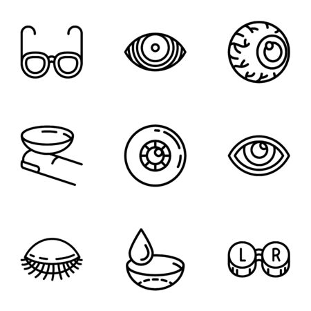 Eye care icon set. Outline set of 9 eye care icons for web design isolated on white background 写真素材