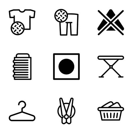 Wash clothes icon set. Outline set of 9 wash clothes icons for web design isolated on white background