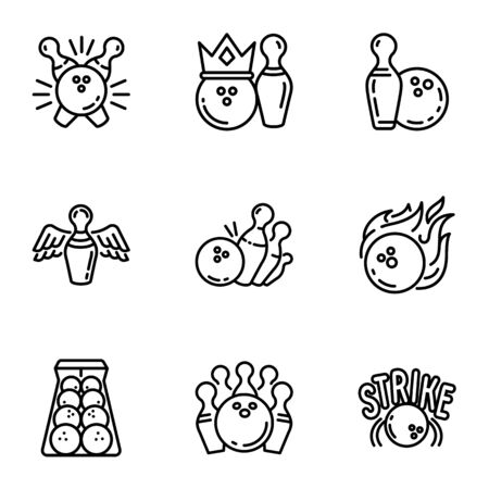 Bowling icon set. Outline set of 9 bowling icons for web design isolated on white background