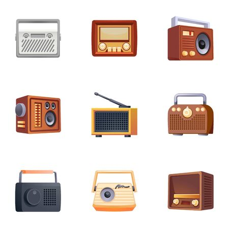 Radio icons set. Cartoon set of radio icons for web design