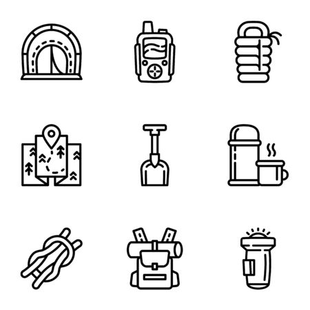 Camping equipment icon set. Outline set of 9 camping equipment icons for web design isolated on white background