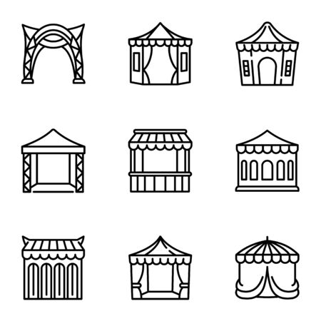 Tent icon set. Outline set of 9 tent icons for web design isolated on white background Stok Fotoğraf
