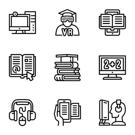 Web library icon set. Outline set of 9 web library icons for web design isolated on white background