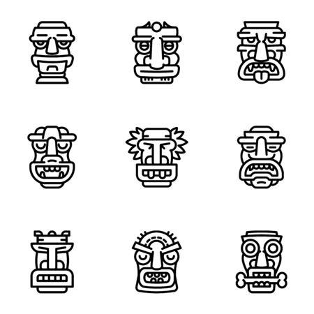 Tiki idol icon set. Outline set of 9 tiki idol icons for web design isolated on white background