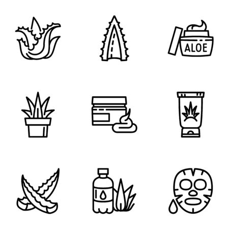 Aloe icon set. Outline set of 9 aloe icons for web design isolated on white background Фото со стока