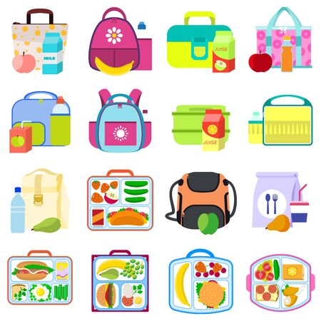 Lunchbox icons set. Flat set of lunchbox icons for web design