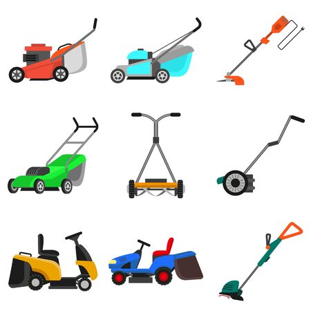 Lawnmower icons set. Flat set of lawnmower icons for web design