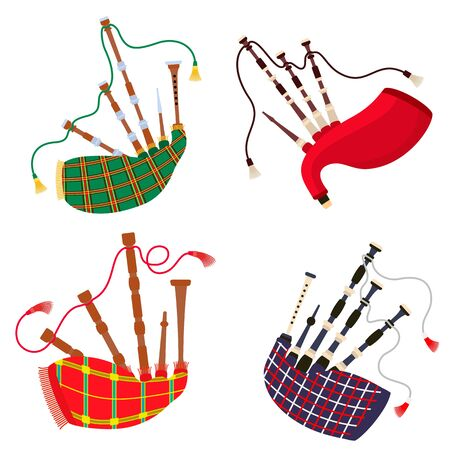 Bagpipes icons set. Flat set of bagpipes icons for web design Zdjęcie Seryjne