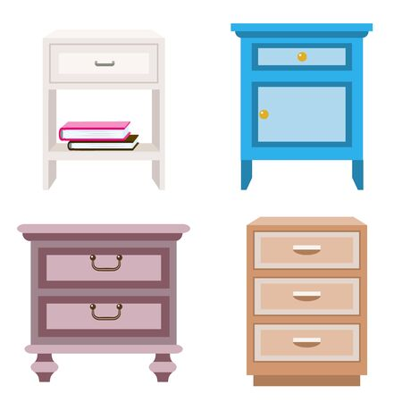 Nightstand icons set. Flat set of nightstand icons for web design