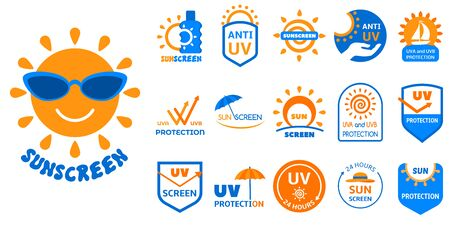 Sunscreen logo set. Flat set of sunscreen icon for web design