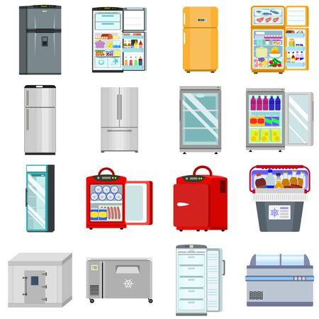 Freezer icons set. Flat set of freezer icons for web design