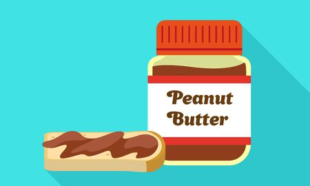 Peanut butter jar icon. Flat illustration of peanut butter jar icon for web design