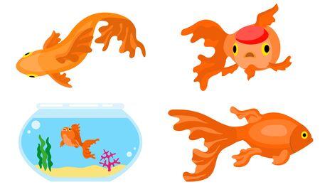 Goldfish icons set. Flat set of goldfish icons for web design