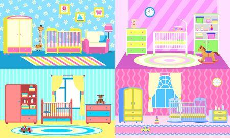 Baby crib banner set. Flat illustration of baby crib banner set for web design