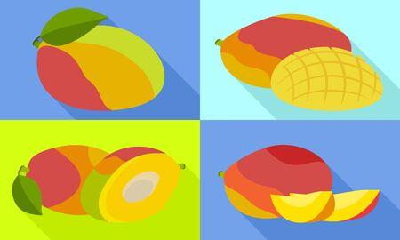 Mango icons set. Flat set of mango icons for web design Banco de Imagens