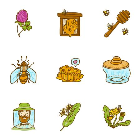 Honey icon set. Hand drawn set of 9 honey icons for web design isolated on white background Stok Fotoğraf