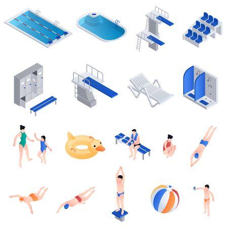 Pool equipment icons set. Isometric set of pool equipment icons for web design isolated on white background