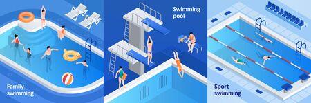 Pool equipment banner set. Isometric set of pool equipment banner for web design
