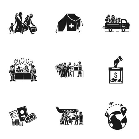 Refugees people icon set. Simple set of 9 refugees people icons for web design isolated on white background