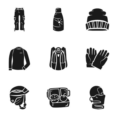 Winter clothes icon set. Simple set of 9 winter clothes icons for web design isolated on white background