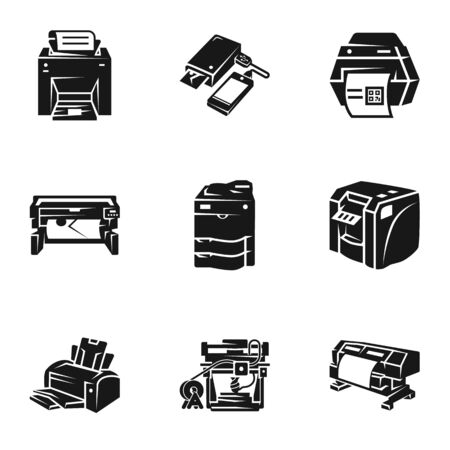 Printer icon set. Simple set of 9 printer icons for web design isolated on white background Фото со стока