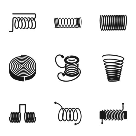 Coil icon set. Simple set of 9 coil icons for web design isolated on white background