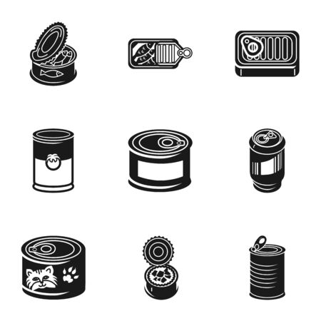Tin can icon set. Simple set of 9 tin can icons for web design isolated on white background Zdjęcie Seryjne