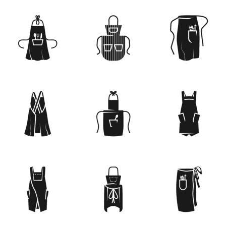 Apron icon set. Simple set of 9 apron icons for web design isolated on white background Stok Fotoğraf
