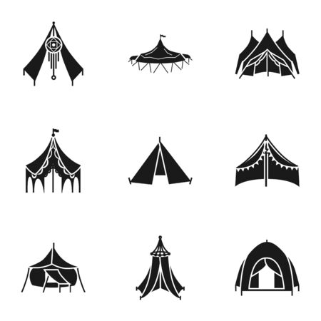 Tent icon set. Simple set of 9 tent icons for web design isolated on white background