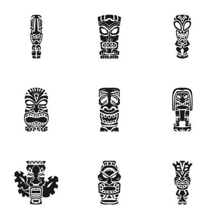 Tiki idol icon set. Simple set of 9 tiki idol icons for web design isolated on white background Stok Fotoğraf