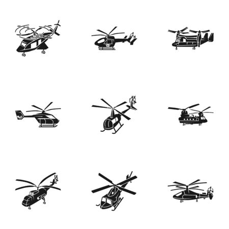 Helicopter icon set. Simple set of 9 helicopter icons for web design isolated on white background Stock Photo
