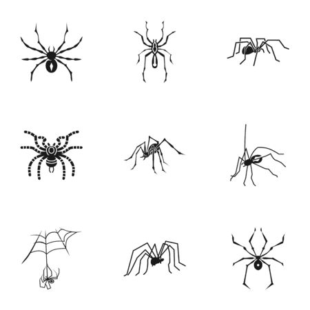 Spider icon set. Simple set of 9 spider icons for web design isolated on white background