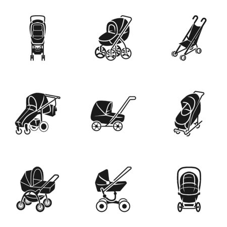 Baby carriage icon set. Simple set of 9 baby carriage icons for web design isolated on white background
