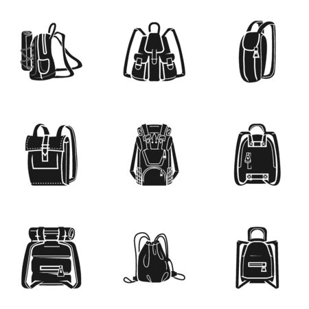 Backpack icon set. Simple set of 9 backpack icons for web design isolated on white background