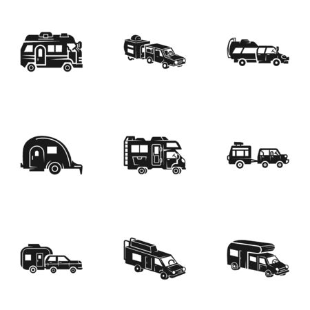 Motorhome icon set. Simple set of 9 motorhome icons for web design isolated on white background 写真素材