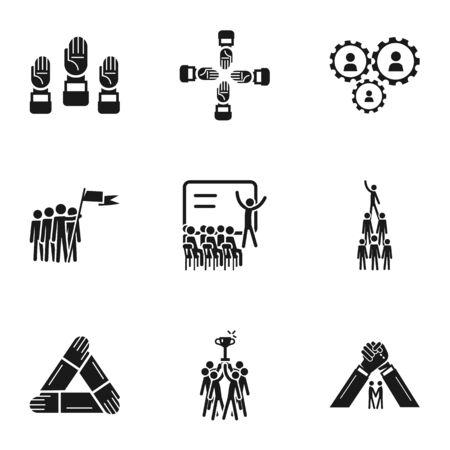 Teamwork icon set. Simple set of 9 teamwork icons for web design isolated on white background Stock Photo