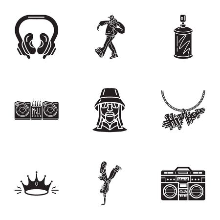 Hip hop icon set. Simple set of 9 hip hop icons for web design isolated on white background Фото со стока