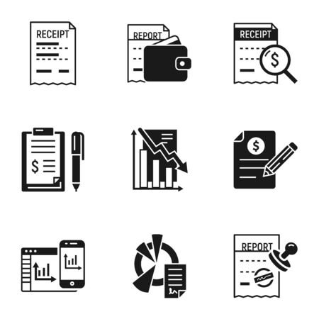 Finance tax icon set. Simple set of 9 finance tax icons for web design isolated on white background Foto de archivo - 131392089