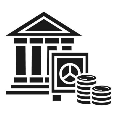 Bank money deposit icon. Simple illustration of bank money deposit icon for web design isolated on white background