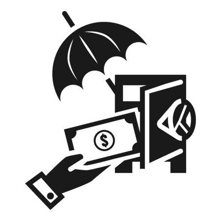 Put money in safe icon. Simple illustration of put money in safe icon for web design isolated on white background Zdjęcie Seryjne
