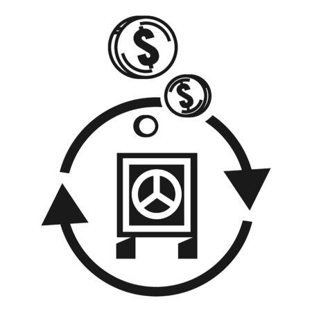 Return money safe icon. Simple illustration of return money safe icon for web design isolated on white background