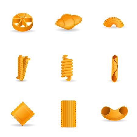 Pasta icon set. Cartoon set of 9 pasta icons for web design isolated on white background Stok Fotoğraf