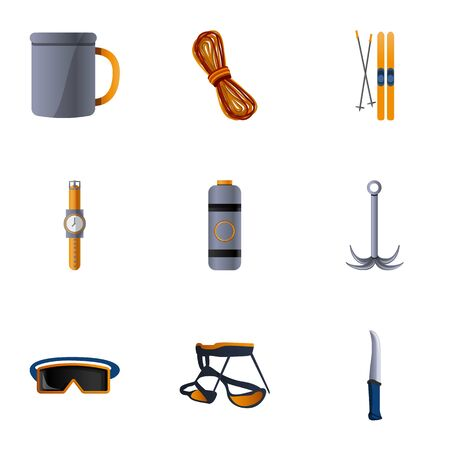 Hiking equipment icon set. Cartoon set of 9 hiking equipment icons for web design isolated on white background Banco de Imagens
